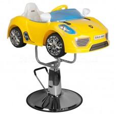 Детское  кресло для барбершопа машинка PORSCHE B041C желтая